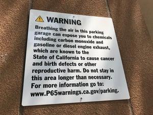 Proposition 65 Parking Garage Warning